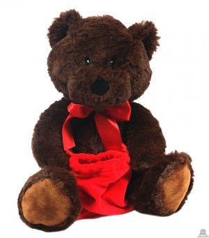Zittende pluche beer bruin met  rode tas 27 cm