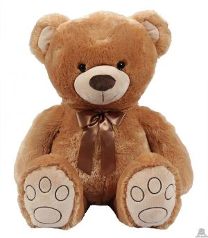 Pluche zittende beer licht bruin 66 cm.