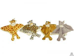 Liggende babypluche giraffe beide van 24 CM.