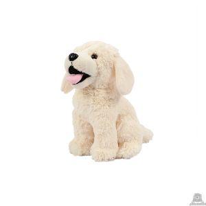 Zittende soft-pluche hond beide van 20 CM.