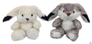 Zittend pluche konijn 15 cm in 2 kleuren
