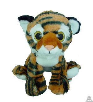 Zittende pluche tijger. De knuffel is geschikt voor zowel een jongen als meisje van 23 CM.