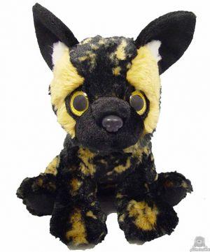 Zittende pluche Hyena 23 cm met goud glanzende ogen.