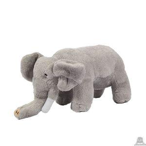 Staande pluche olifant beide van 23 CM.