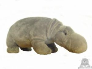 Staande pluche nijlpaard beide van 23 CM.