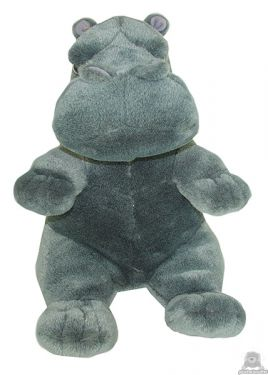 Staande pluche nijlpaard beide van 38 CM.