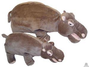 Staande pluche nijlpaard beide van 29 CM.