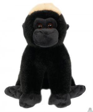 Zittende pluche gorilla zwart 20 cm.