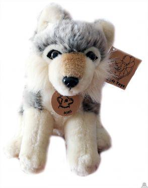 Pluche zittende Wolf 20 cm met halsband en naam