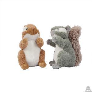 Staande pluche eekhoorn beide van 14 CM.