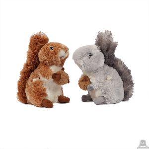 Zittende soft-pluche eekhoorn beide van 15 CM.