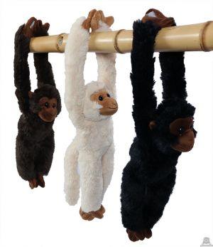 Pluche hang aap 3 kleuren 37 cm