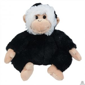 Zittende pluche aap zwart 15 cm.