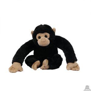 Zittende pluche chimpansee beide van 24 CM.