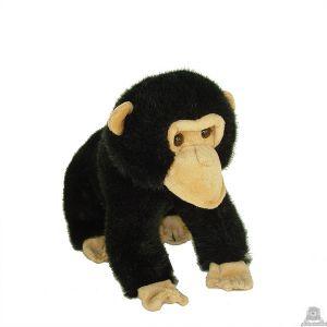 Zittende pluche chimpansee beide van 25 CM.