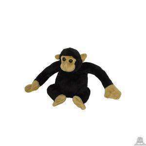Zittende soft-pluche chimpansee beide van 13 CM.
