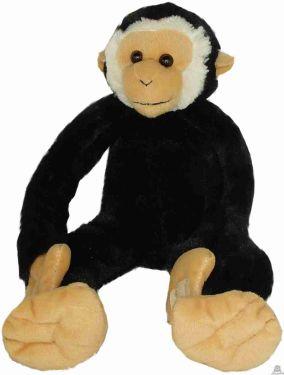 Zittende Gibbon zwart soft-pluche 42 cm