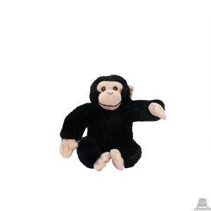 Zittende pluche chimpansee beide van 15 CM.