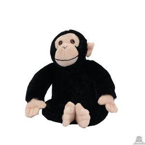 Zittende pluche chimpansee beide van 23 CM.