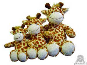 Zittende soft-pluche giraffe beide van 15 CM.