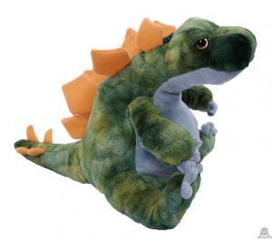 Pluche zittende Dinosaurus Groen 30 cm