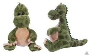 Pluche zittende Dinosaurus Groen Rose 30 cm