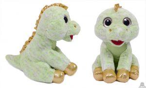 Pluche zittende Dinosaurus groen/goud met grote ogen 25 cm