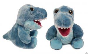 Pluche zittende Dinosaurus blauw met grote ogen 23 cm