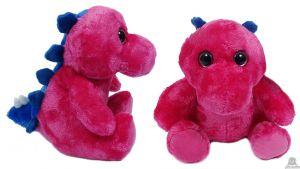 Pluche zittende Dinosaurus roze met grote ogen 23 cm