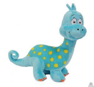 Pluche staande Dinosaurus blauw 25 cm