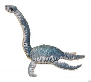 Geprinte stoffen staande Dinosaurus blauw/grijs Plesiosaurus 43 cm