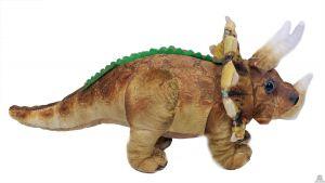 Geprinte stoffen staande Dinosaurus Triceratops beige 36 cm