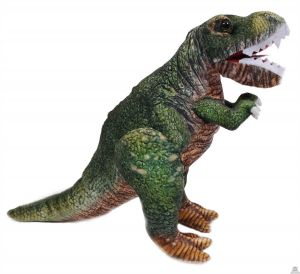 Geprinte stoffen staande Dinosaurus T-Rex groen 43 cm