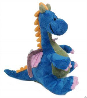 Pluche zittende Draak blauw 28 cm