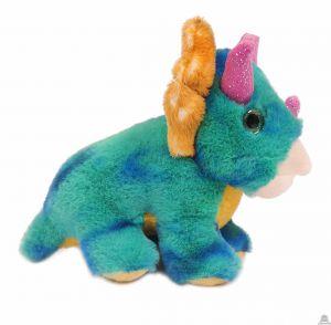 Pluche staande Dinosaurus Triceratops turquoise 19 cm