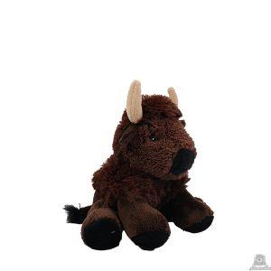 Zittende pluche bizon beide van 19 CM.