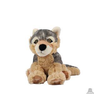 Zittende soft-pluche wolf beide van 23 CM.