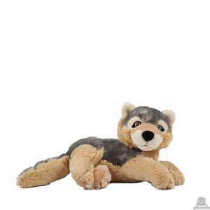 Liggende soft-pluche wolf beide van 26 CM.