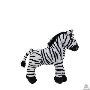 Staande pluche zebra beide van 22 CM.