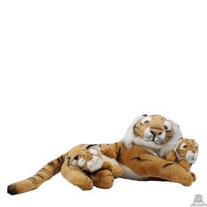 Liggende pluche tijger beide van 45 CM.