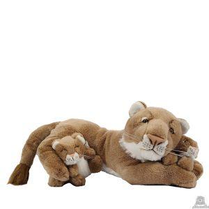 Liggende pluche leeuw beide van 50 CM.