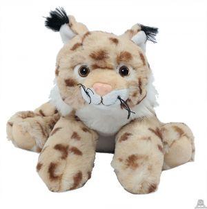 Liggende pluche Lynx van 34 cm.