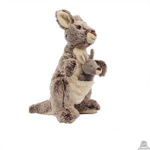 Zittende pluche kangoeroe beide van 31 CM.