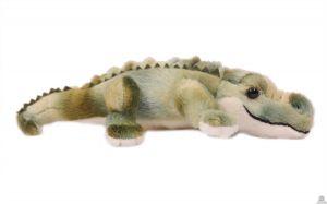 Liggende pluche Krokodil groen 28 cm