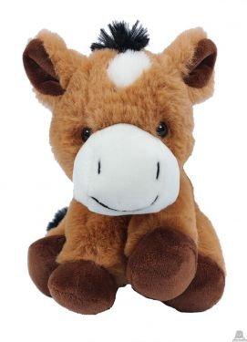 Zittend pluche Paard 17 cm