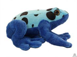 Zittende pluche Kikker blauw 18 cm