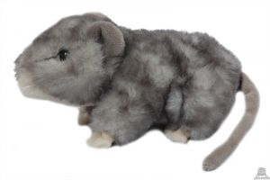 Liggende pluche Muis donker grijs 16 cm