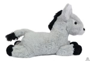 Liggende pluche Ezel licht grijs 30 cm
