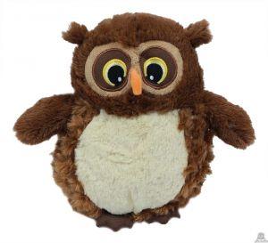Staande pluche Uil donker bruin met grote ogen van 20 cm