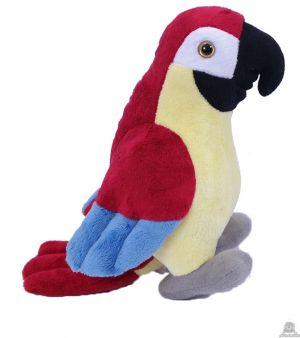 Staande pluche papegaai Rood 20 cm.